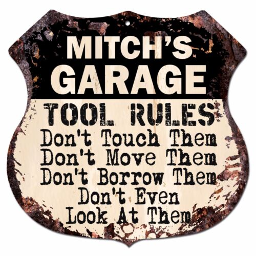 BPG0852 MITCH/'S GARAGE TOOL RULES Rustic Shield Sign Man Cave Decor Gift