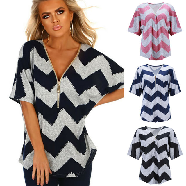 Women Striped Blouse Tee Shirt 3/4 Sleeve T-shirts Top  V Neck Summer Casual