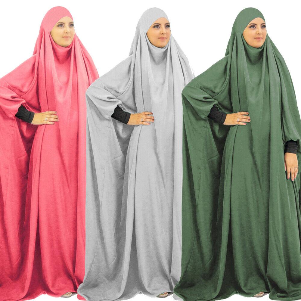 Muslim Women Prayer Long Dress Khimar Hijab Abaya Burqa Kaftan Arab Robe Islamic