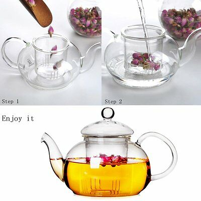 NEW Heat Resistant Glass Teapot with Infuser Coffee Tea Leaf Herbal 350ML-1000ML