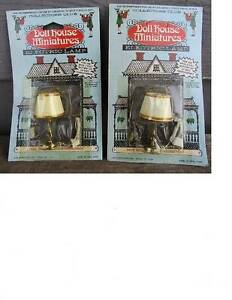 ( 2 ) NOS EARLY DOLLHOUSE MINIATURES ELECTRIC TABLE LAMPS - made in hong kong