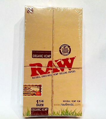 24 RAW ORGANIC HEMP Unrefined Rolling Papers Vegan Full Box Natural 1 1/4 Size