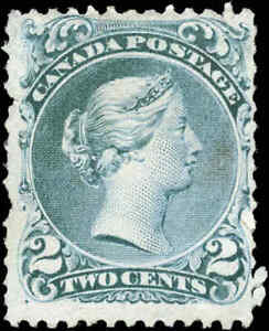 1868-Mint-NG-Canada-Scott-24ii-2c-Large-Queen-Issue-Stamp-Fine-F