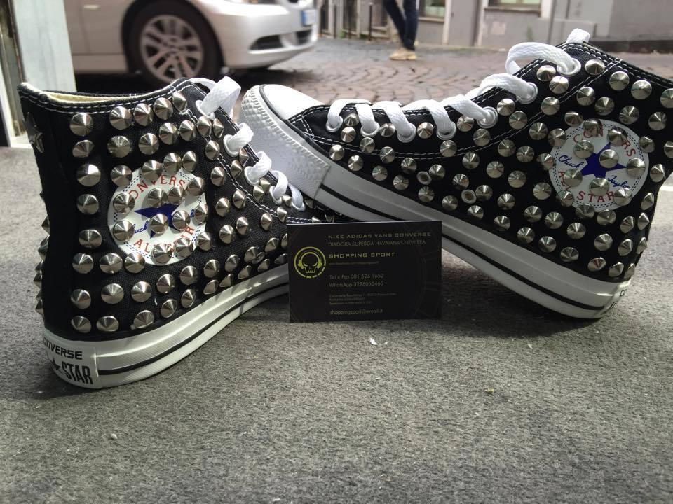 Zapatos casuales salvajes Converse All Star Nere Alte personalizzate con Borchie Grigie Clean Stella Star