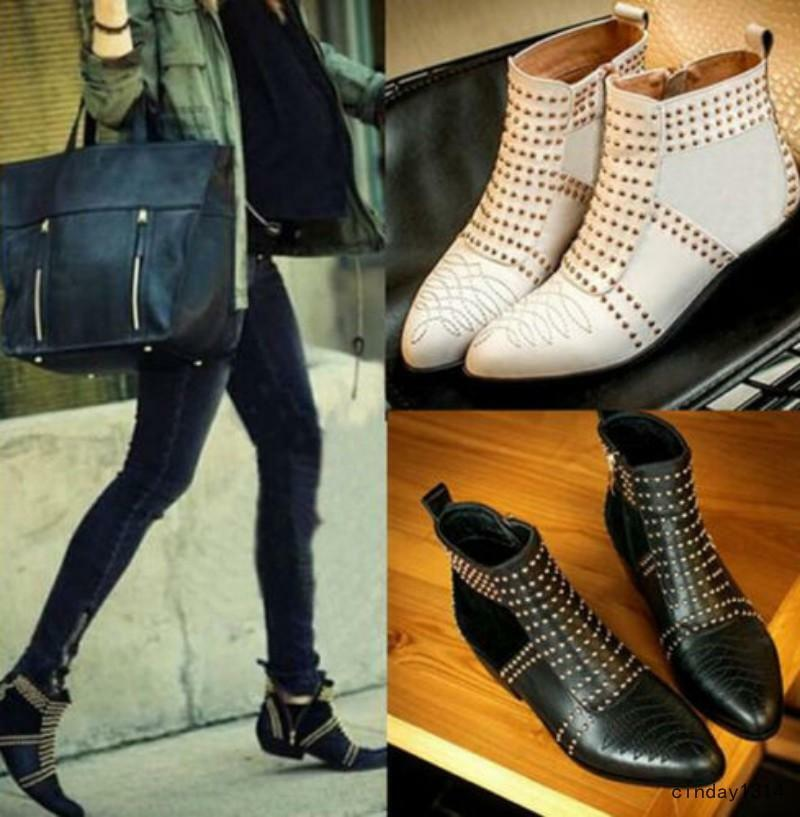 Fashion Women's Punk Leather Shoes Rivet Studded Side Zipper Pull On Ankle Boots