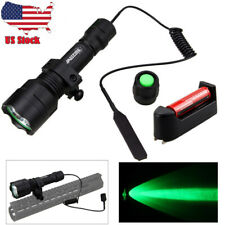 Tactical Green Light LED Flashlight Torch Lamp Rifle Hunting Shooting Mount