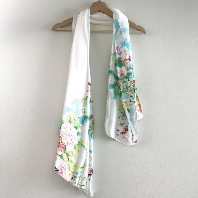 Nwot Womens Silk Blend Floral White Long Scarf