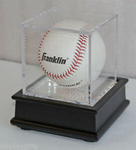Baseball Holder Display Case Cube, Black Wooden Stand B03-BL