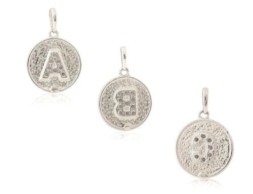 14K Solid White Gold Round Brilliant Initial Letter Pendant Necklace 0.40 ct.