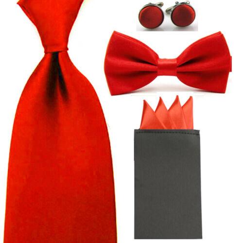 Men Solid 8cm Necktie Bowtie Pre-folded 4 Folds Hanky Pocket Square Cufflink Set