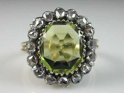 Edwardian Antique Rose Diamond Ring Peridot Estate Vintage 18K Silver Size 5.25