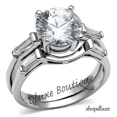 3.50 Ct Round Brilliant Cut CZ Stainless Steel Wedding Ring Set Women's Sz 5-11