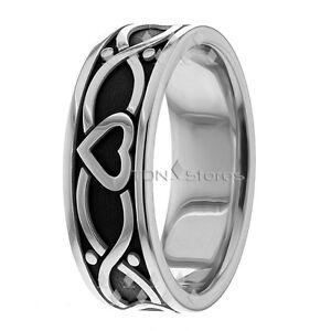14K GOLD CELTIC WEDDING BANDS RINGS HEART MENS WOMENS CELTIC WEDDING ...