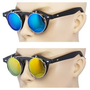 2-Pair-Cool-Flip-Up-Lens-Steampunk-Vintage-Retro-Round-Sunglasses-Blue-Ocean-REV