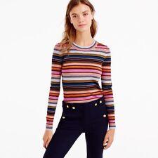 NWOT J. Crew Rainbow Stripe Sweater Merino Wool XXS