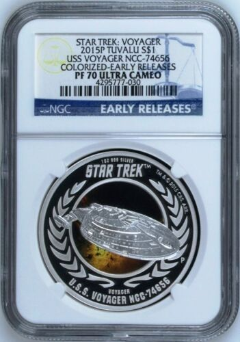 2015 P Star Trek U.S.S VOYAGER NCC-74656 1 oz Silver $1 NGC PF70 EARLY RELEASE