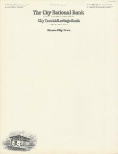 Frank Lloyd Wright Designed Bank on 1920/'s Letterhead From  Mason City Iowa
