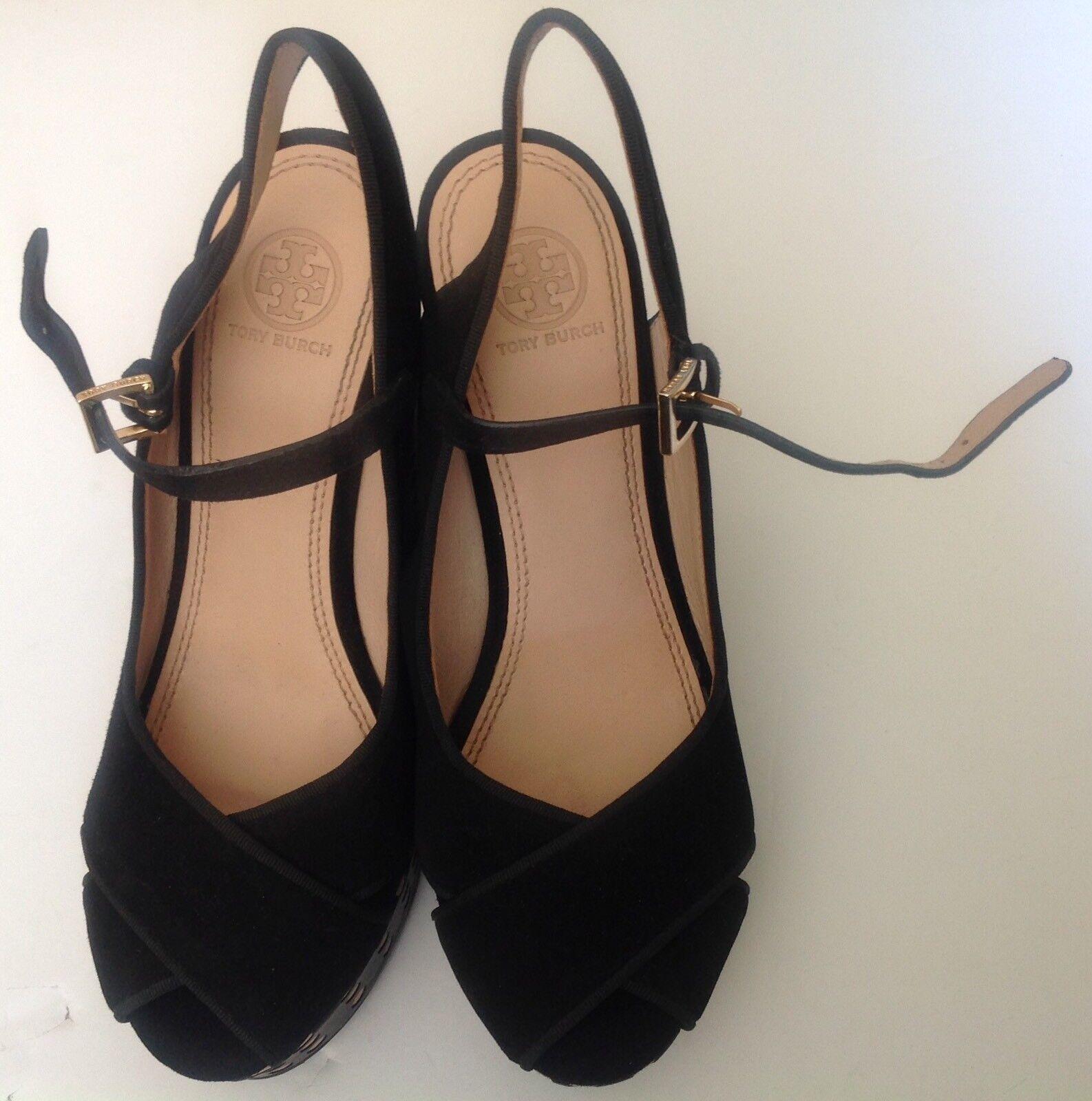 Tory Burch Ollie Cuero Ante Negro lunares sandalia de plataforma cuña de plataforma de Zapatos S.8M 5fad18