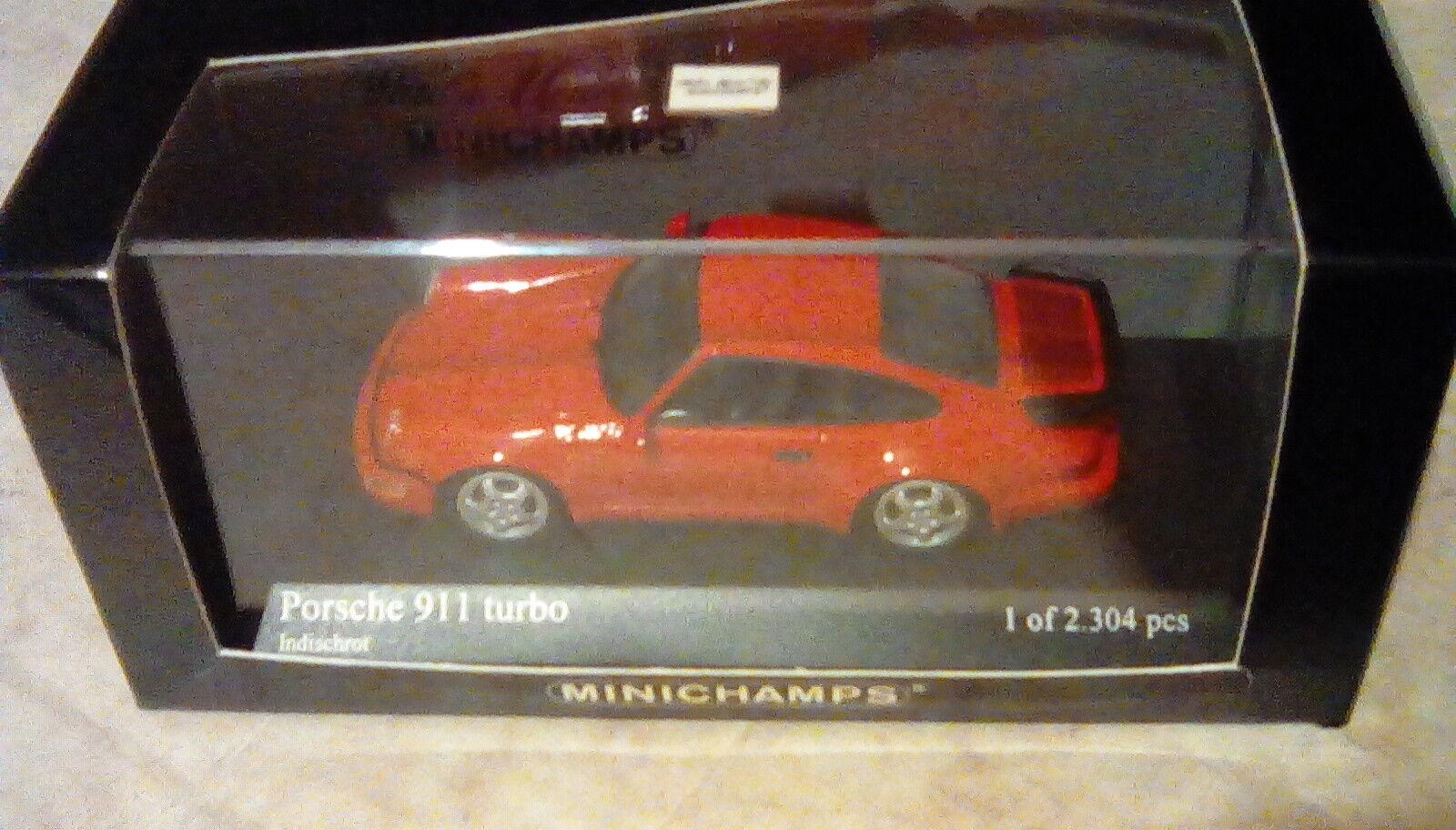 SCARCE MINICHAMPS PORSCHE 911 (964) TURBO INDIA RED LAUNCH ISSUE 1 43 BRAND NEW