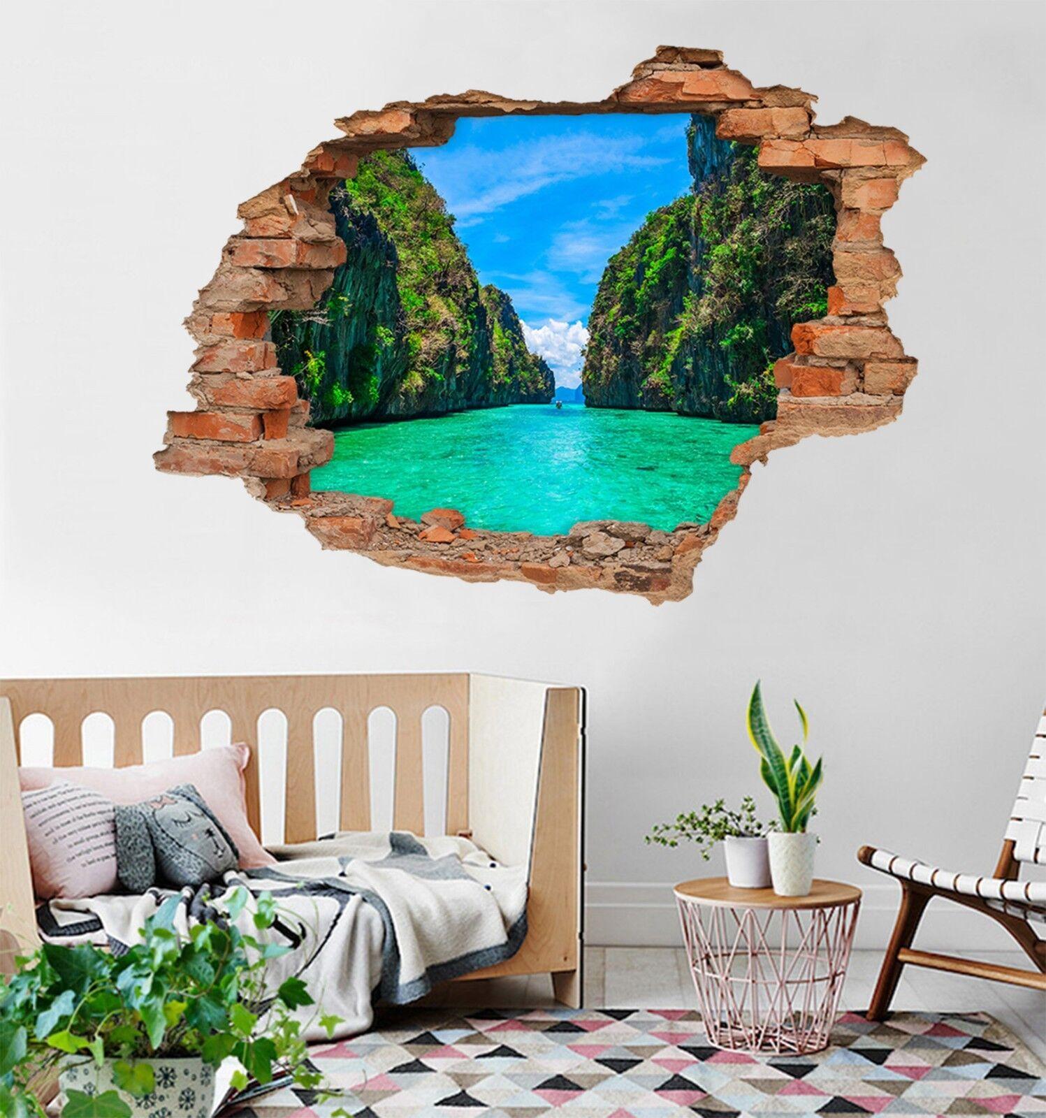3D Canyon Grün Water 98 Wall Murals Wall Stickers Decal Durchbruch AJ WALL CA
