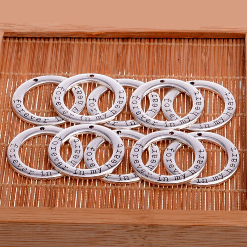 10PCs SILVER FOREVER IN MY HEART CIRCLE PENDANT CHARMS CRAFTS JEWELRY MAKING