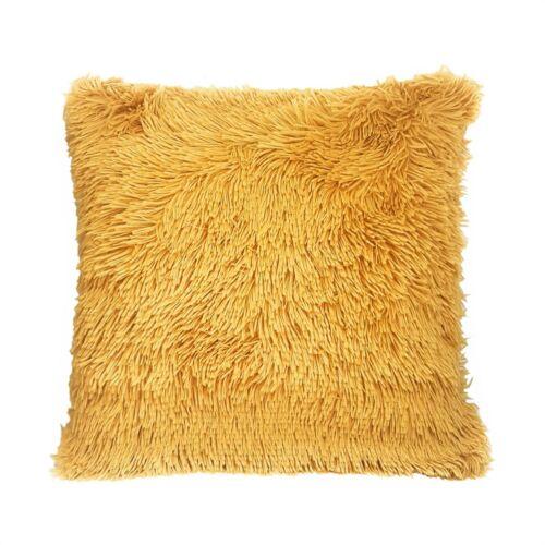 2 X Sehr Weich Flauschig Fellimitat Gold Ocker Gelb Kissenbezüge 45.7cm