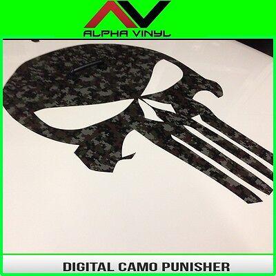 Hood Decal Digital Camo Punisher Blackout vinyl Universal Fit JK, TJ, YJ, JL, KL