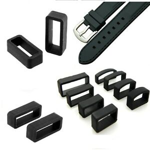 d5fa9a22ccea PVC Rubber Black Watch Strap Band Buckle Keeper Hoop Loop Holder ...