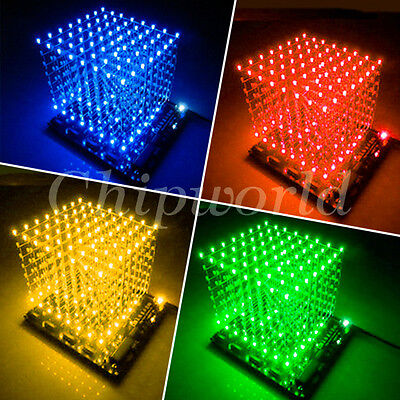 3D LightSquared DIY Kit 8x8x8 3mm LED Cube Blue Red Green Yellow Ray White LED