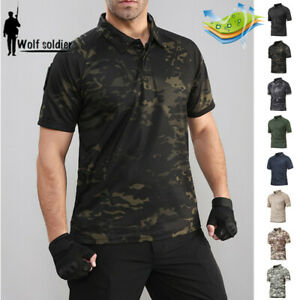 Army-Tactical-Men-039-s-T-Shirt-Military-Short-Sleeve-Combat-Casual-Shirt-Camouflage