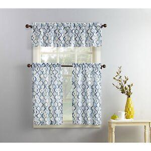 blue gray modern geometric print 3pc kitchen curtains set valance tiers cafe | ebay