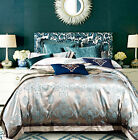 Silver Aqua Queen King Size Bed Quilt Doona Cover Set Linen Egyptian Cotton