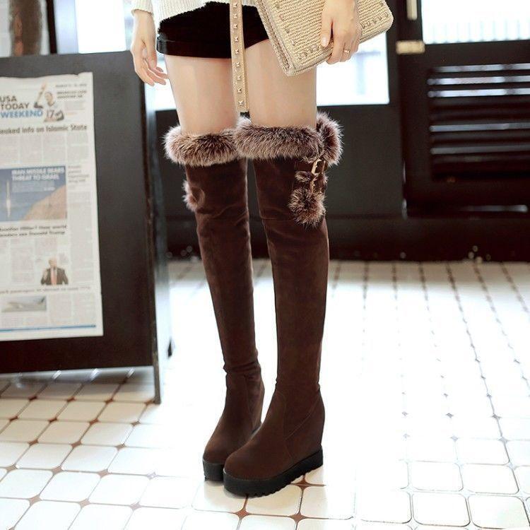 Womens platform over the knee high boots high hidden wedge heels furry shoes