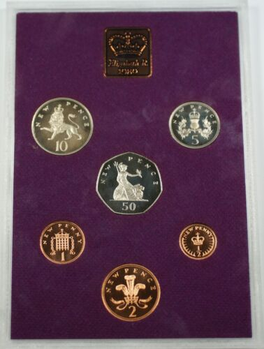 1980 Great Britain Decimal Coins 6 Coin Proof Set and Mint Token