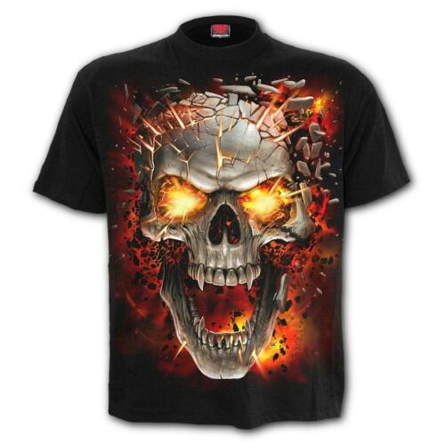 SPIRAL DIRECT Skull Blast Kids//Boys//Child T-shirt//Top horror//skeleton//flames