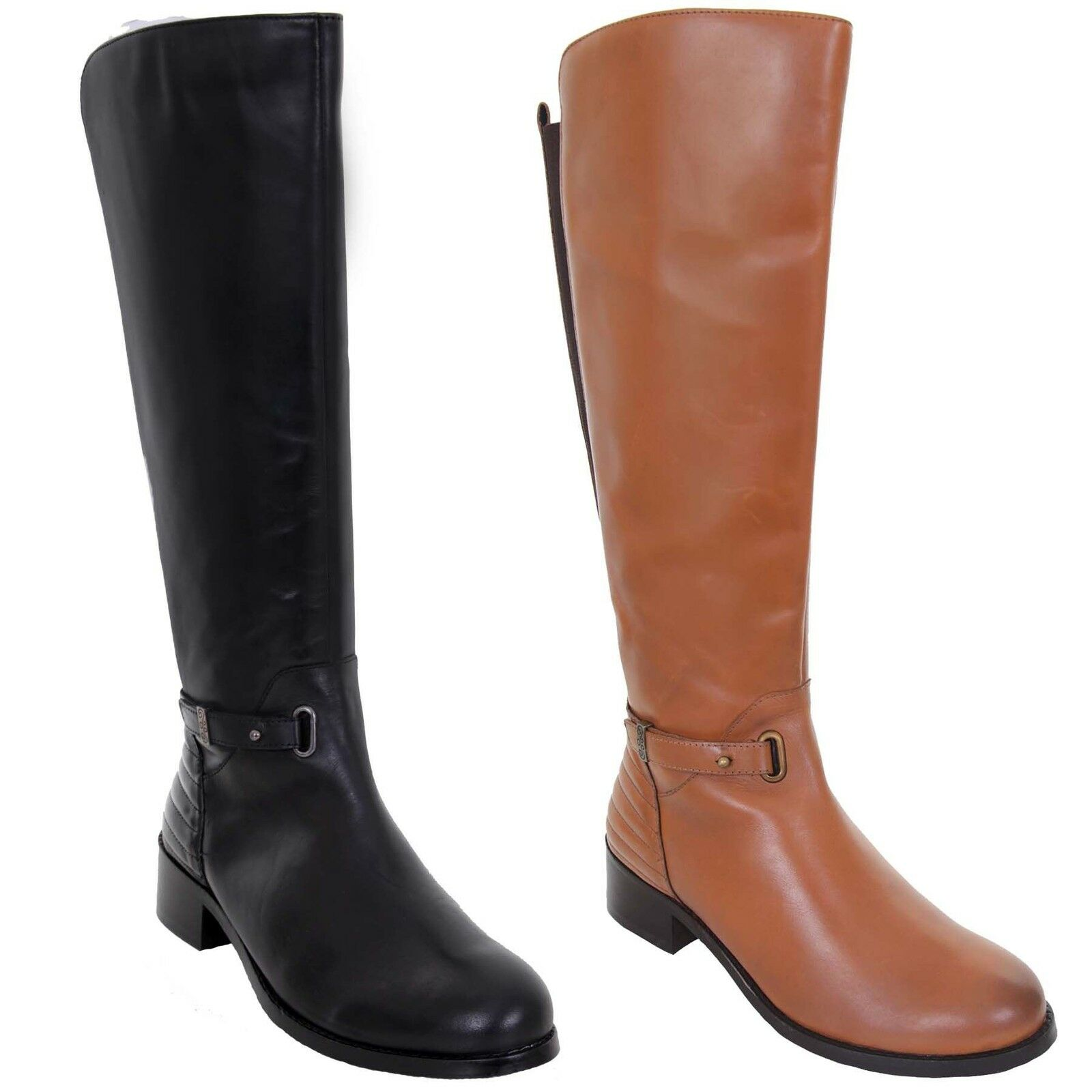GLH472 Reblack Calf High Zipper Side Elasticated Low Heel Genuine Leather Boots