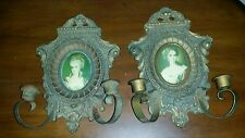 Vintage A Cameo Creations Wood Oval Portrait Wall Candle Sconce Victorian Lady
