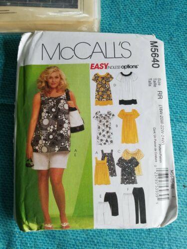 18W-20W-22W-24W Shorts RR McCall/'s Patterns M5640 Women/'s Tops Dresses