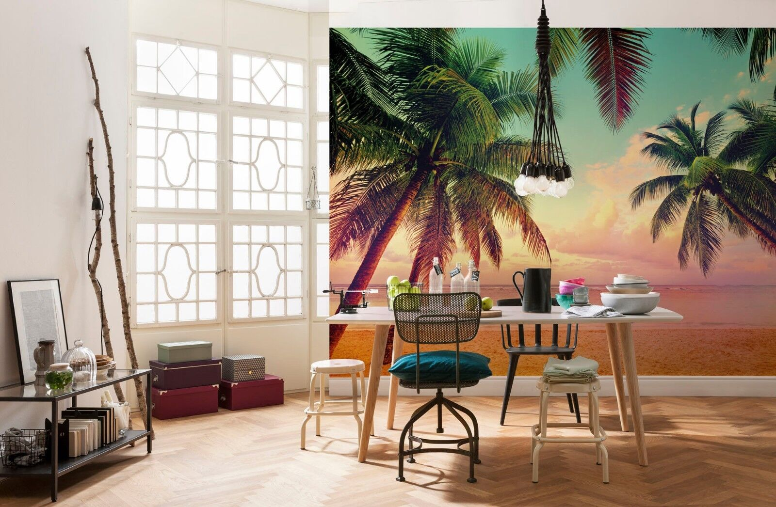 Palms and beach wallpaper giant size photo wall mural 144x100inch   No adhesive