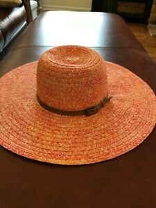 acb06bb14780 Details about WOMEN'S BETMAR NEW YORK RAMONA TANGERINE ORANGE WIDE BRIM HAT  NEW WITH TAGS