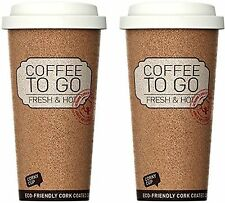 SET OF 2 Reusable Insulated Corky Coffee To Go Mugs for Travel and Work - 16 Oun