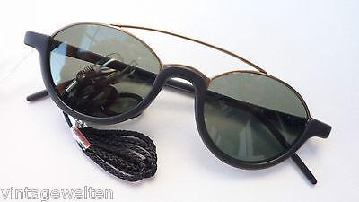 Accurato Occhiali Da Sole Nero Oro Fuori Uso Doppio Steg Ovale Circa Vintagelook Taglia L- Non-Stireria