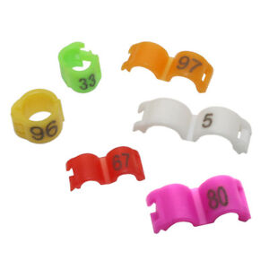 Details about 100 Pcs Birds Leg Bands 6 Colors Pigeons Canary Bird Plastic  Rings Number 1-100