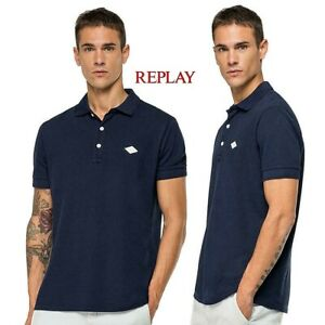 T-shirt-polo-uomo-REPLAY-cotone-piquet-manica-corta-blu-colletto-stampato-M3070