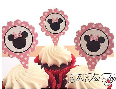 12x Disney Minnie Mouse CUPCAKE CAKE TOPPER Party Food Pick Lolly Loot Bags