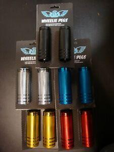 AXLE PEGS SE BIKES WHEELIE PEGS 35x98 3//8-14mm SILVER