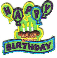 """HAPPY BIRTHDAY"" w/BALLOONS-Iron On Embroidered Patch/Celebration, Dessert,Treat"