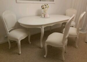 Shabby Chic French Style Dinner Table And 4 Chairs Used Ebay