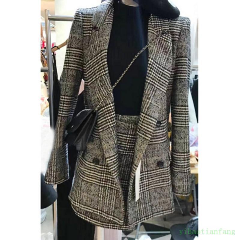 Autumn Grid Lady Lapel Office Slim Blazer A-line Business Vogue Suits Coat+Skirt