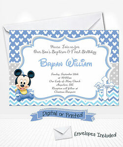 PRINTED Baby Mickey Birthday Invitations Mickey Baptism Invitations